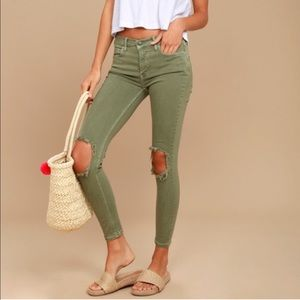 Free People Green High Rise Busted Knee Jeans
